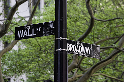 Street signs on the corner of Broadway and Wall Street, New York (USA)